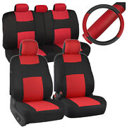 Black/red Car Seat Covers For Auto W/ 2 Tone Pu Leather Steering Wheel Cover
