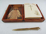 Holy Bible Memorial Edition Illustrated Wooden Presentation Box W/brass Dagger