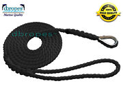 1/2 X 12and039 Mooring Pendant 100 Nylon Rope Black Ts 6400 Lbs. Made In Usa