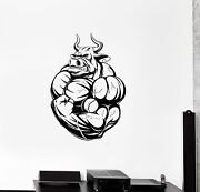 Wall Vinyl Sticker Decal Fitness Bodybuilding Angry Bull Muscles Animals Ed494