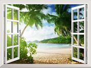 Wall Mural - Sunset On The Tropical Beach With Palm Trees - 36x48