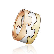 Georg Jensen Fusion Puzzle Ring - 18 Kt. Yellow Gold Rose Gold And White Gold.
