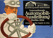 Original Vintage German Poster For The Berlin Auto Show 1911 By Lucien Bernha