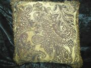 3 Pc Designer Tuscan Gold, Brown, Black Chenille 22 Fringed Pillows And Throw