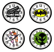 Comic Book Novelty Theme Wall Clock 10 Round Black Plastic Game Room Man Cave