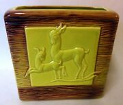 Art Deco Aborn California Art Pottery Vase Planter Deer Mid Century Modern