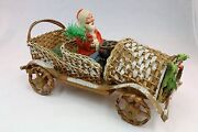 Santa In Wicker Car Pre- 1920and039s Belsnickel Candy Holder Hand Made In Germany