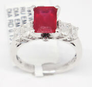 Graceful 18k White Gold 2.93tcw Ruby W/ Diamonds Solitaire Ring Size 7