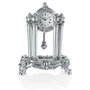Italian Silver Resin Table Pendulum Clock Baroque Style