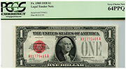 Rare 1 1928 Us Legal Tender Note Red Seal Fr 1500 A Block Pcgs 64ppq Wow