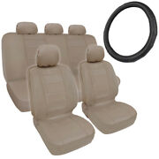 Car Seat Covers + Steering Wheel Cover Comfy Faux Leather Beige Tan