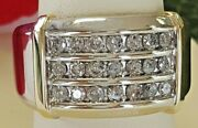 10k Solid White And Yellow Gold Channel Set Diamond Ring 0.80 Cts I Color Si2