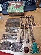 Vintage Plasticville Lc-2 Log Cabin Rustic Fence And Tree Complete O Scale Nice