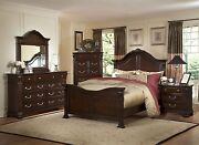 New 4pc Traditional King Eastern Bed Size Nightstanddressermirror Brown Finish