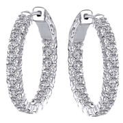Valentines Day Estate 3.50ctw Natural Diamond Hoop Earrings 14k Solid White Gold