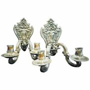 A Pair Of Heraldic Silver Wall Sconces For Amadeo I King Of Spain 19th Cent.