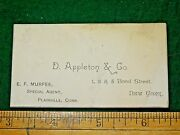 1870s D. Appleton And Co. Ny Book Publisher E.f. Murfee Ct Business Card F12