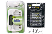 8 Bay Aa/aaa Lcd Battery Charger + 8-pack Aa 2600 Mah Acculoop-x Nimh Batteries