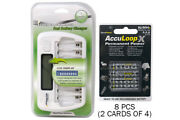 8 Bay Aa/aaa Lcd Battery Charger + 8-pack Aaa 1100 Mah Acculoop-x Nimh Batteries