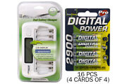 8 Bay Aa/aaa Lcd Battery Charger + 16-pack Aa 2900 Mah Accupower Nimh Batteries