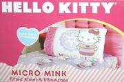 Sanrio Hello Kitty Winter Snow Micro Mink Twin Fitted Sheet And Pillowcase 2pc Set
