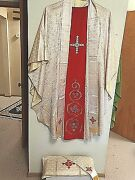 Catholic Vintage French Altar Silk Vestment And Stole Body Of Christ Motif 69