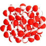 50 100 200pcs Fish Wow 1 Fishing Snap-on Round Floats Bobbers Red White Lot