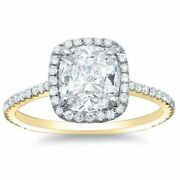 2.20ct Forever One Cushion Moissanite Halo Vsf Engagement Ring 14k Two Tone Gold