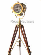 Antique Spotlight Search Light Floor Grill Lamp With Wooden Tripod Stand