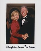 President Bill Clinton And Hillary Clinton Signed Autographed Color Photo Jsa Coa