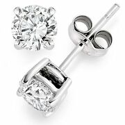 Natural G Color Si1 Clarity Round Brilliant Diamond White Gold Stud Earrings