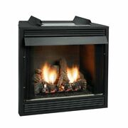 Premium 36 Vf F-face Firebox Birch Logset And Slope Glaze Burner - Ng