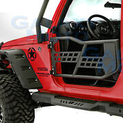 Body Armor Complete Set Of 2 Tubular Door Without Mirror For 07-17 Jeep Wrangler