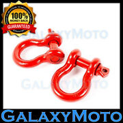 Heavy Duty 1 Pair 3/4 Red 4.75 Ton D-ring Bow Shackle Off Road 4x4