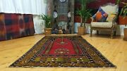 Antique 1900-1930and039s Turkish Tribal Prayer Rug 3and03910 Andtimes 7and0395