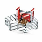 Schleich 41419 Bull Riding With Cowboy Play Set Rodeo Farm World