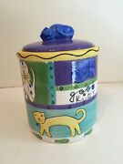 At Home Trish Richman Napping Cat Good Kitty Ceramic Treat Canister Jar