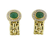 14k Yellow Gold Oval Green Emerald And Si White Diamonds Chain Link Style Earrings