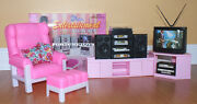 New Fancy Life Doll House Furniture Classic Entertainment Set W/tv And Hi-fi9510