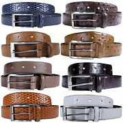 New Mens Animal Skin Genuine Bonded Leather Classic Trousers Jeans Belts S-3xl