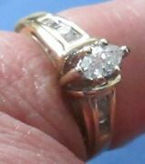 14k Gold Marquise 35 Point Center Diamond With 8 Channel Set Diamonds Size 6 3/4