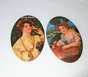 Two Vintage 1973 Coca Cola Oval Advertising Pocket Mirrors Mint