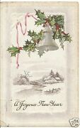 Original Vintage 1907-1915 Pc- Christmas Seal- Holly- Bell- A Joyous New Year