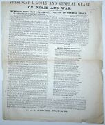 Broadside President Lincoln And General Grant On Peace And War Civil War 1864