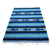 Genuine New Blue Sky And Black Mexican Fish Floor Rug Large Size Blanket Throw Yo