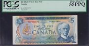 1972 Bank Of Canada 5 Test Note - Rs8096874 Pcgs Au55 Ppq