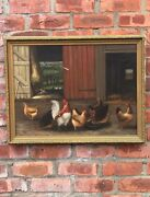 19th C. Oil On Canvas Barn Yard Rooster Painting Attributed To Frank Shapleigh
