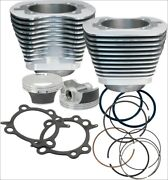 Sands Cycle 106 Ci Big Bore Cylinder Kit Silver 101 Compression 07-16 Harley