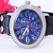 Techno Master Oval Face 4.00 Ctw Diaand039s Blue Chrono Watch Tm2084 Rare Must Sell