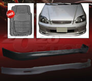Spoon Polyurethane Pu Front And Rear Lip Spoiler For 96-98 Civic 3dr + Floor Mat